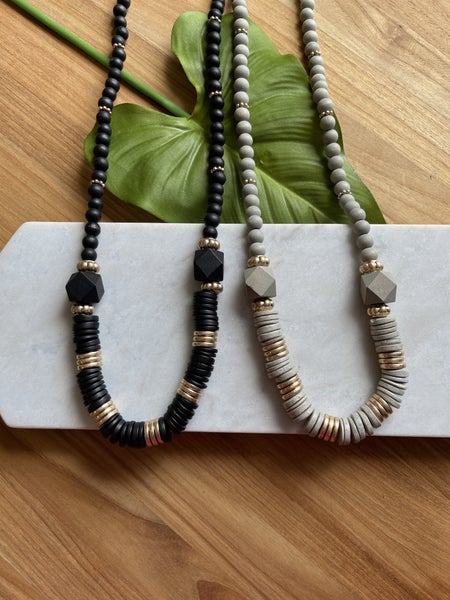 Long wood beaded necklace