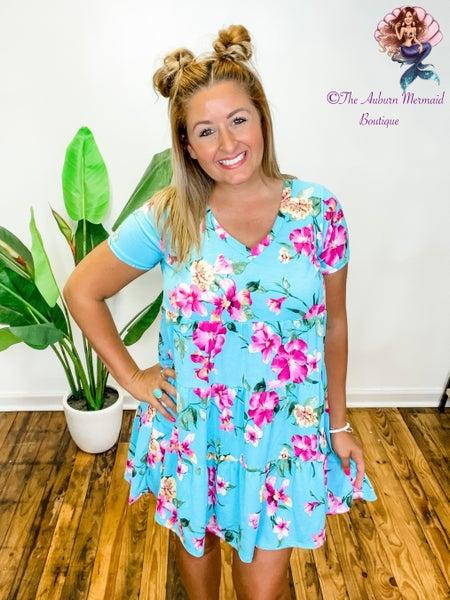 Aqua Floral Babydoll Dress