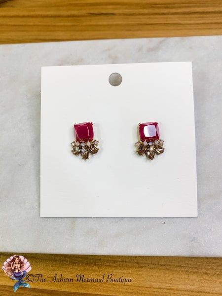 Pink Jewel Trim Square Studs