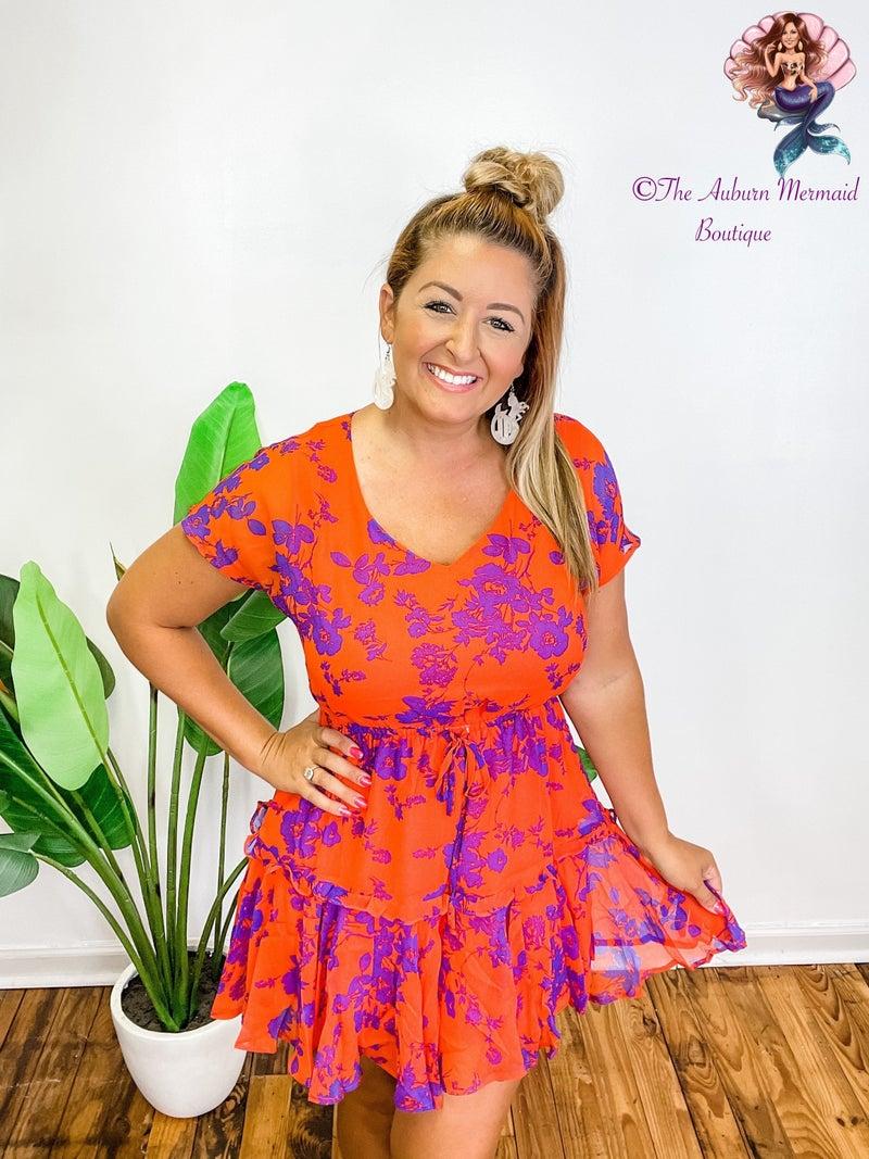 Orange & Purple Floral Dress