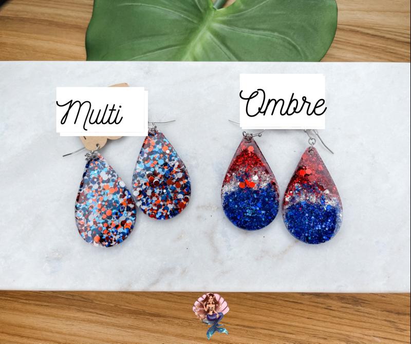 Red White & Blue Glitter Earrings