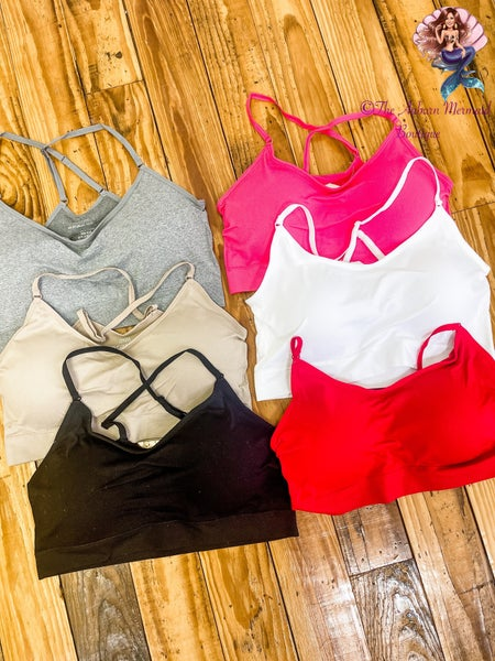 One Size Cross Back Solid Bralettes