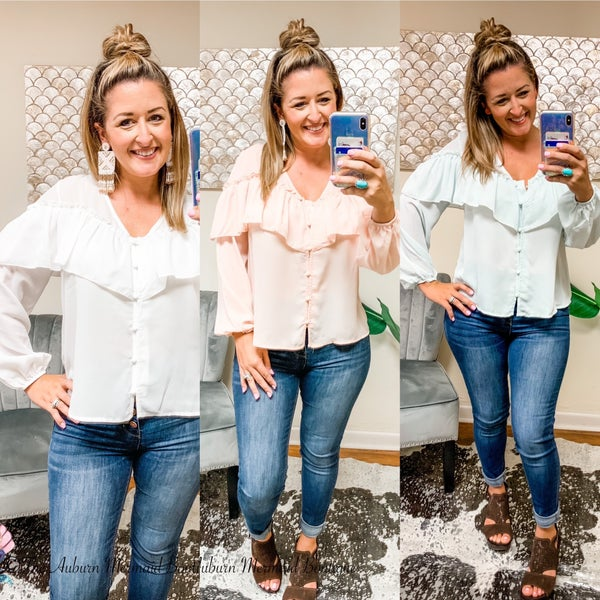 V Neck Ruffle Solid Top
