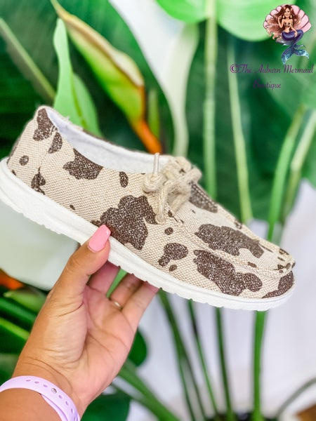 Sparkly Cow Print Sneakers