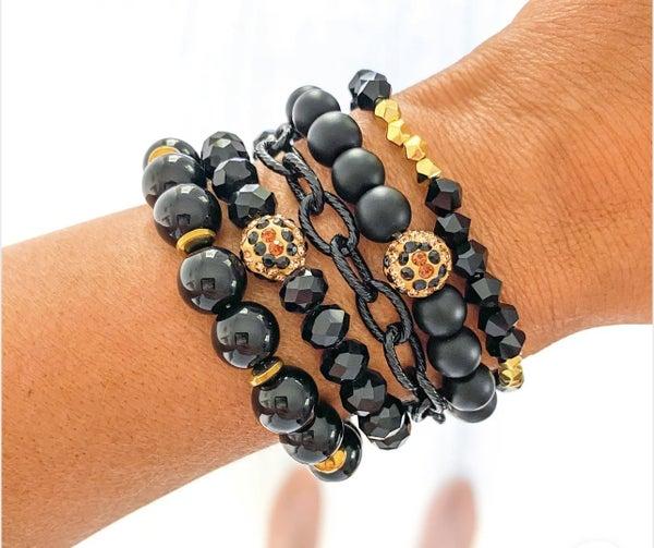 Ebony Black Bracelet Set