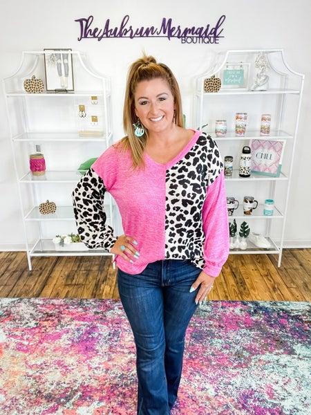 Pink & Leopard Color Block Long Sleeve Top