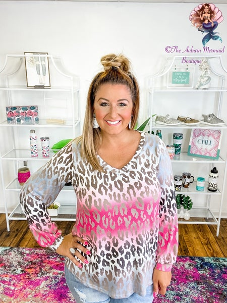 Pink Leopard Ombre Long Sleeve Top