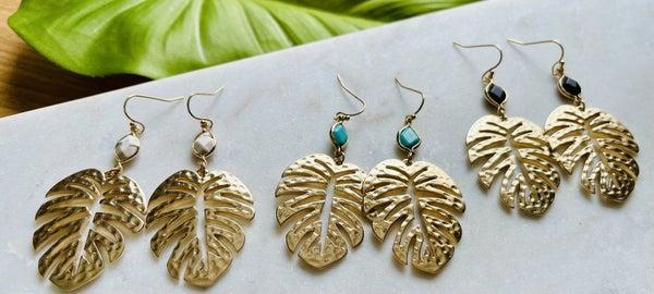 Palm Leaf Druzy Earrings