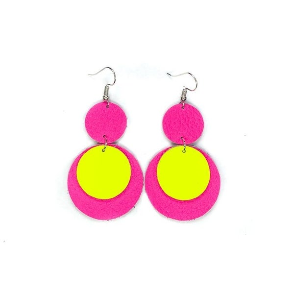Neon Pink and Yellow Leather Earrings