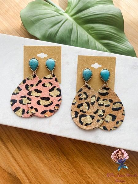 Stone & Leopard Teardrop Leather Earrings