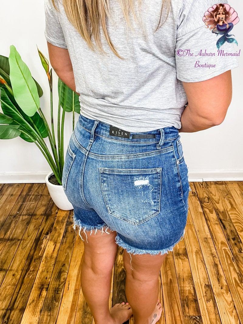 Medium Wash High Rise Mid Thigh Shorts *Final Sale*