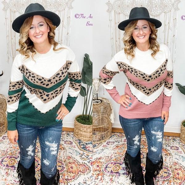 Leopard Color Block Pullover Sweater