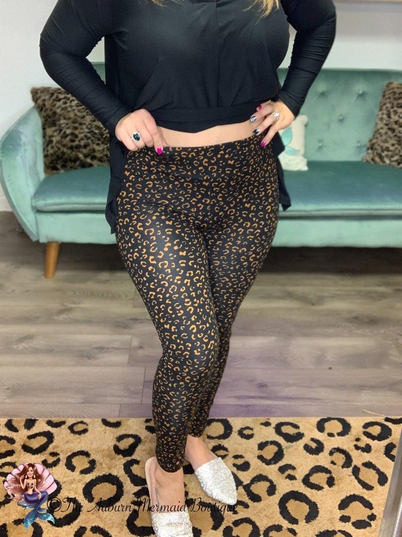 Black/Bronze Leopard Leggings *Final Sale*