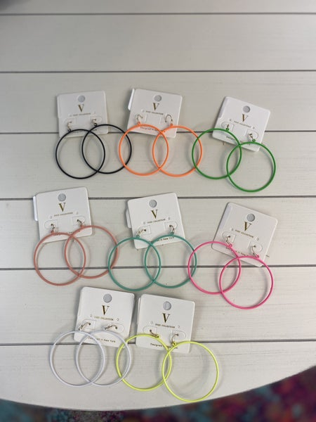 Neon Powder Coated Hoop Earrings