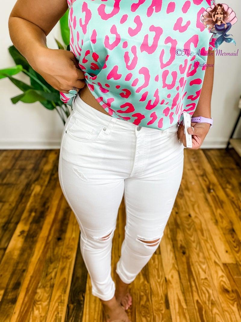 Hi Waist White Distressed Risen Skinny Jeans *Final Sale*