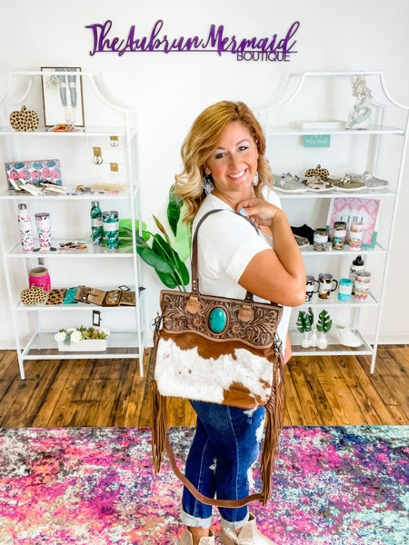 Leather Cow & Turquoise Purse