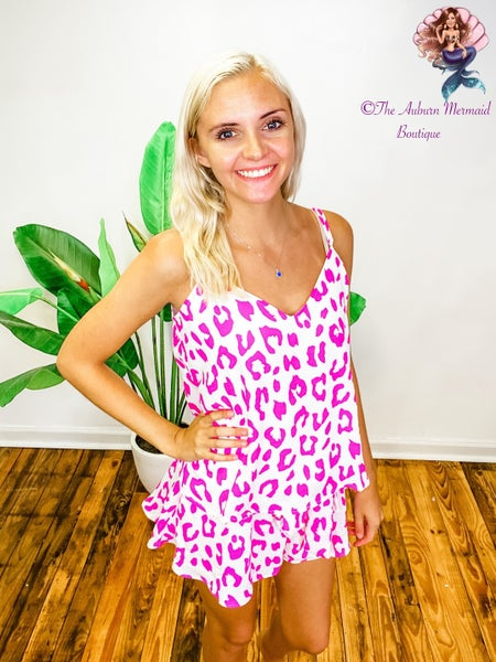 Magenta Leopard Shorts