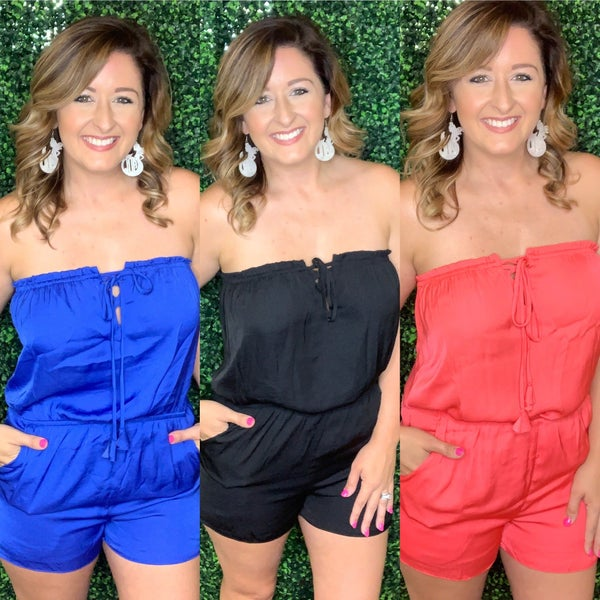 Lace Front Strapless Romper