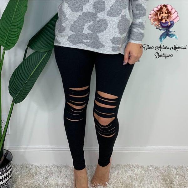 Black Distressed Leggings