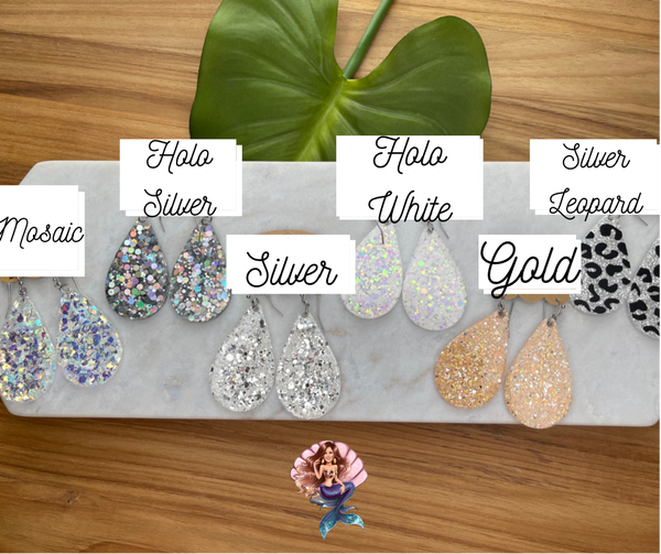 Neutral Glitter Earrings