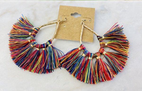 Multi Color Tassel Earrings