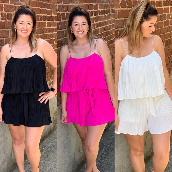 Pleated Woven Romper
