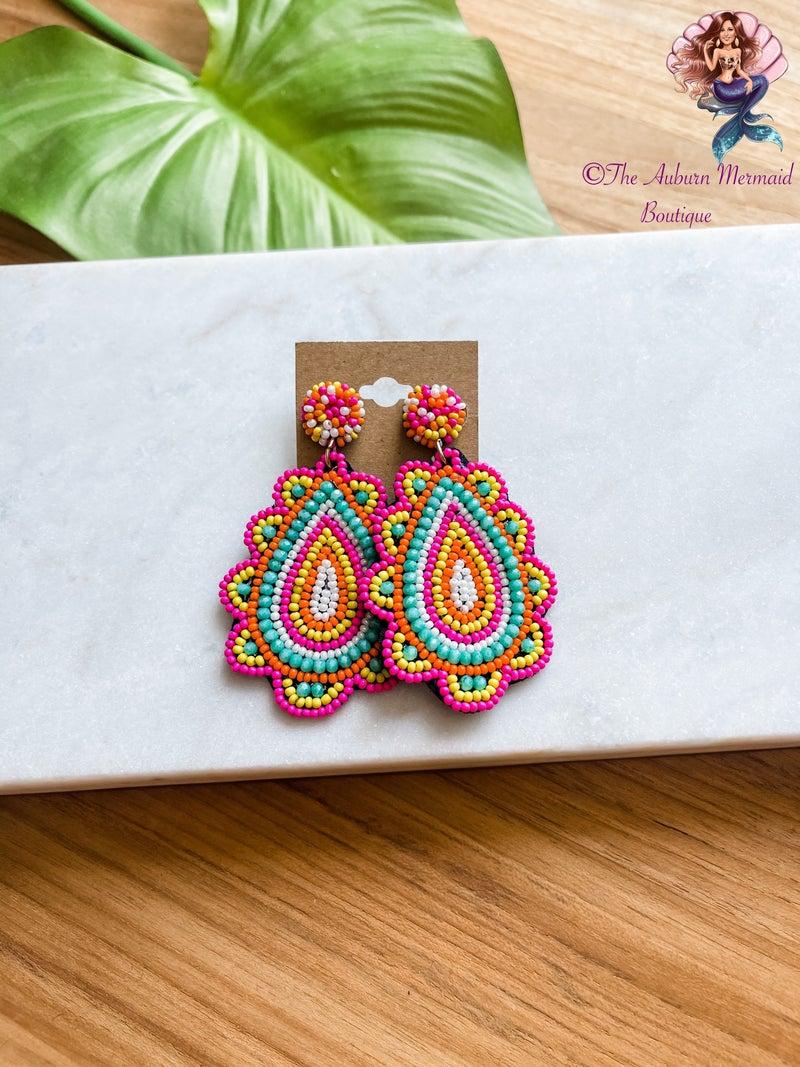Fiesta Beaded Teardrop Earrings