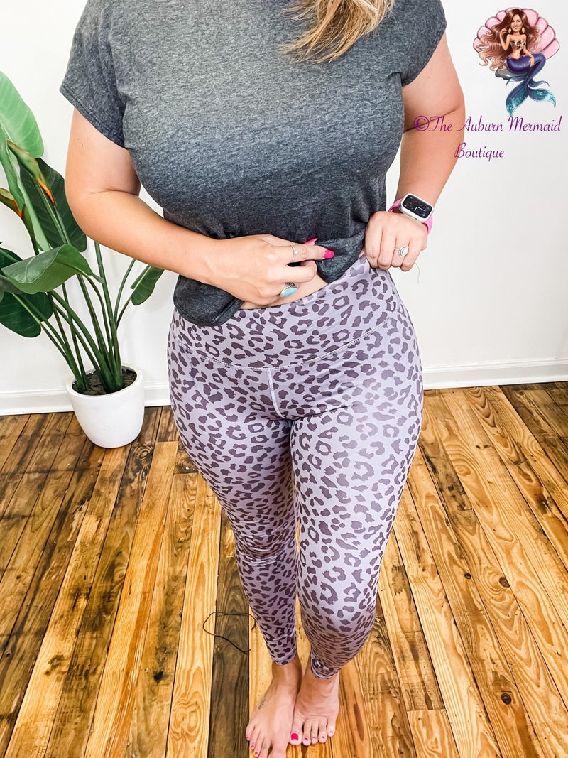 Dusty Purple Leopard Leggings