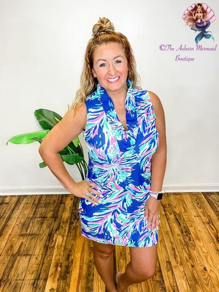 Tropical Ruffle Neckline Dress