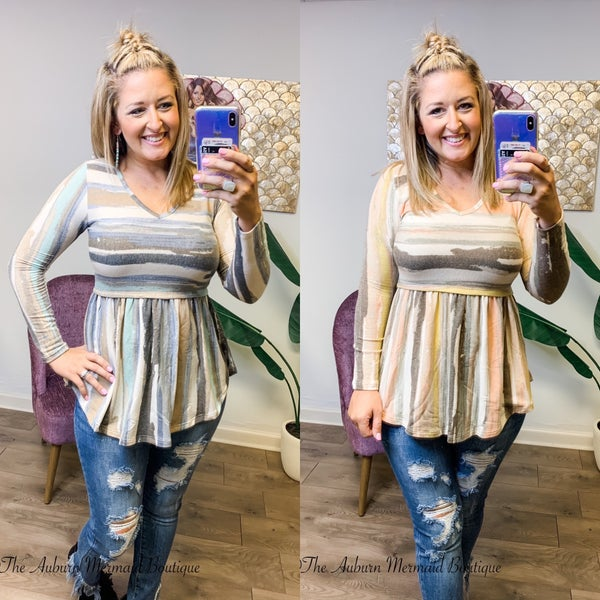 French Terry Multi Striped babydoll top
