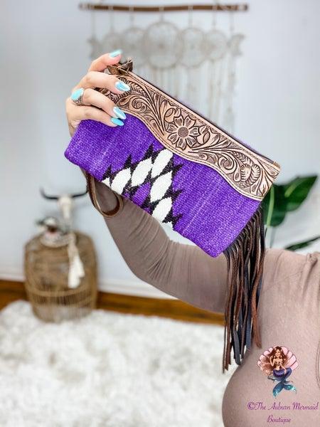 Serape Leather Fringe Wristlets