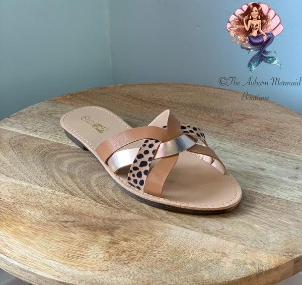Beachie Cheetah & Rose Gold Sandals