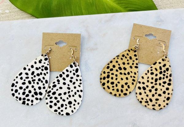 Cheetah Faux Teardrop Earrings