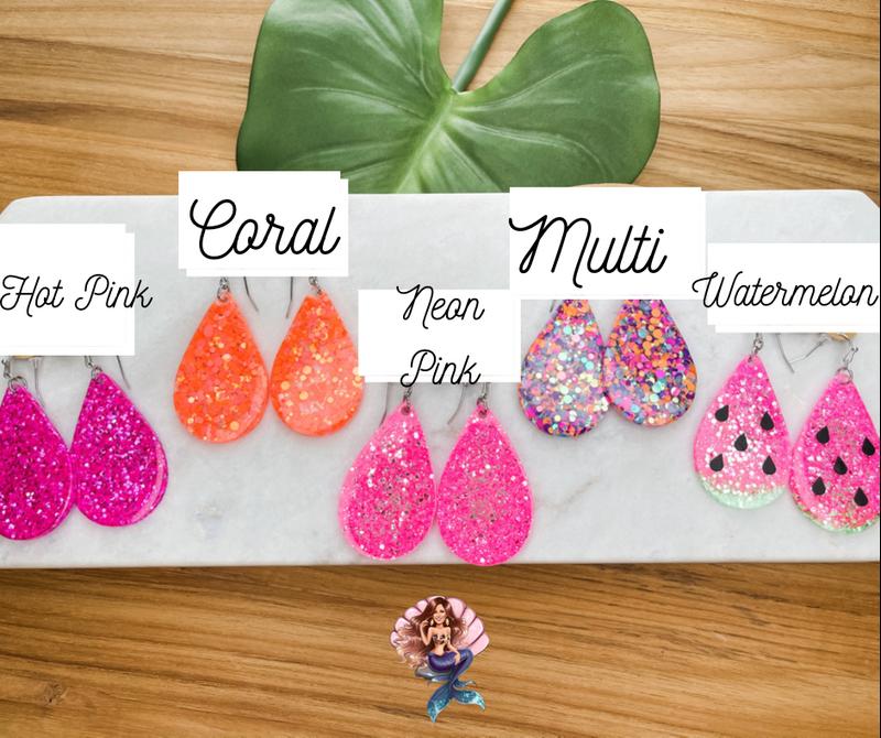 Pink & Coral Glitter Earrings