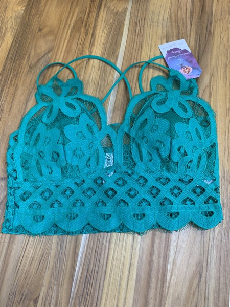 Kelly Green Strappy Lace Bralette