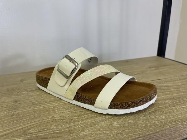 White Glitter Sandals