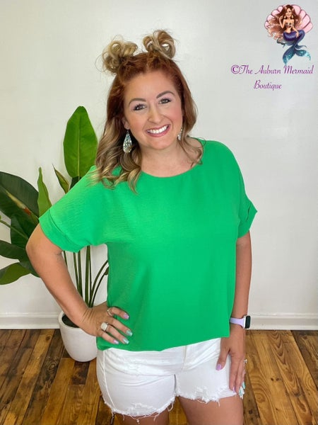 News To Me Kelly Green Blouse
