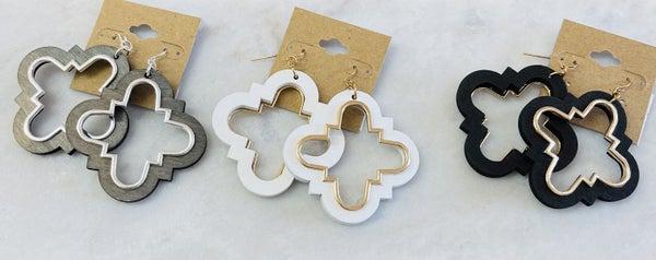 Quatrefoil Wood Earrings