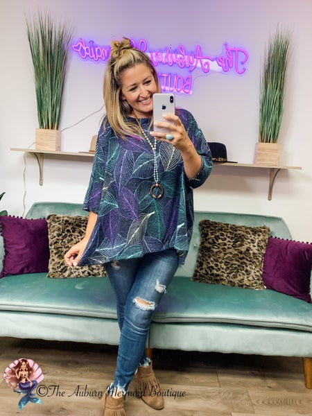 Navy Feather Print Oversized Top