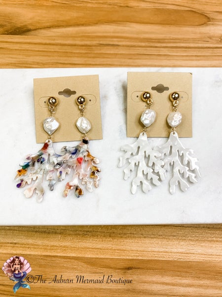 Acrylic Coral & Pearl Earrings