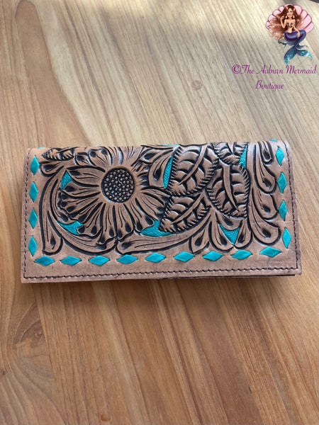Tooled Leather Turquoise Trimmed Wallet