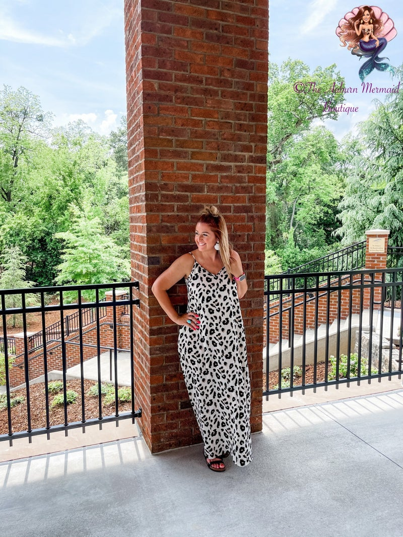 Cream and Ivory Leopard Maxi Dress