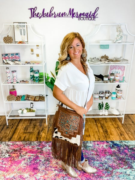 Cow Print Turquoise Tooled Leather Crossbody. Purse