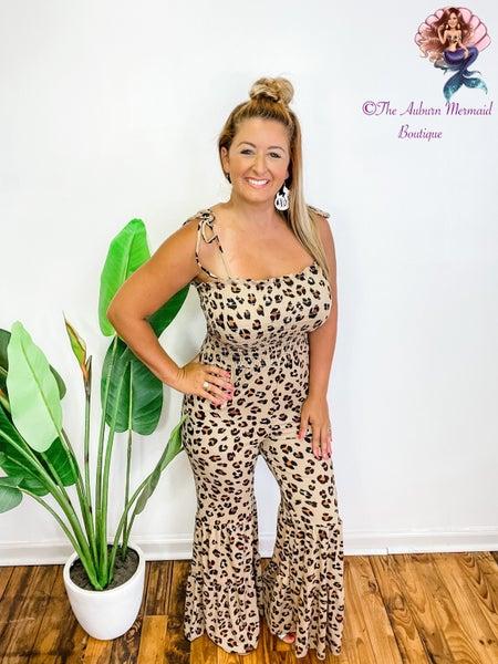 Take Me Away Leopard Smocked Jumpsuit