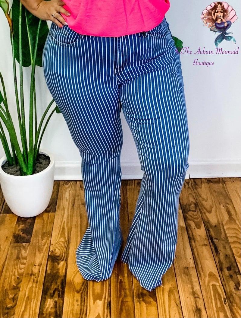 High Waste Pin Stripe Super Flare Judy Blue Jeans *Final Sale*