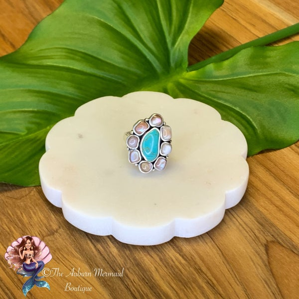 Sterling Silver Turquoise & Mother of Pearl Ring