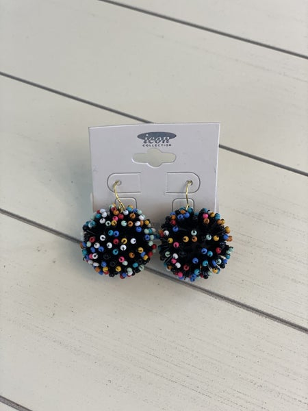 Black Multi Color Ball Earrings