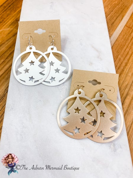 Round Christmas Tree Staple Earrings