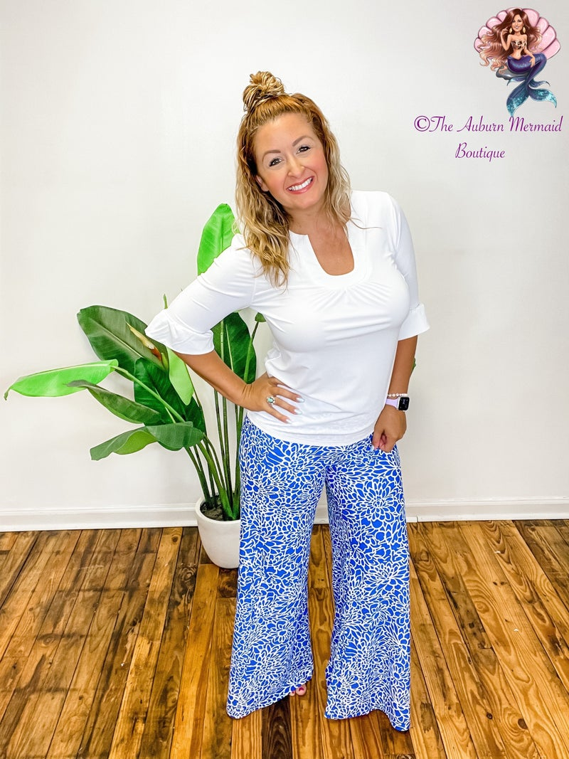 Electric Blue Floral Palazzo Pants