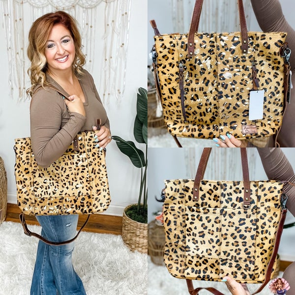 Conceal Carry Leather Leopard Tote Purse
